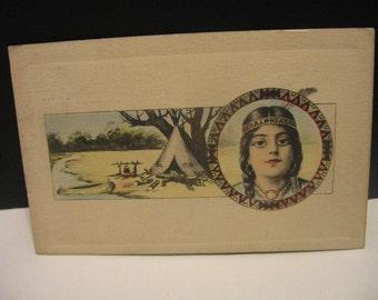 1910 Native American Postcard Tipi Canoe