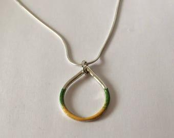 Silver & enamel teardrop shape pendant