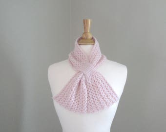 Pull Through Scarf, Pale Pink, Baby Alpaca Natural Fiber, Pure Luxury, Light Neck Warmer