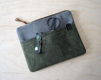 "Laptop Sleeve with Zipper in Charcoal Linen and Waxed Canvas - Macbook Air 13"" Sleeve - Macbook Case - Laptop Bag - Graduation Gift"