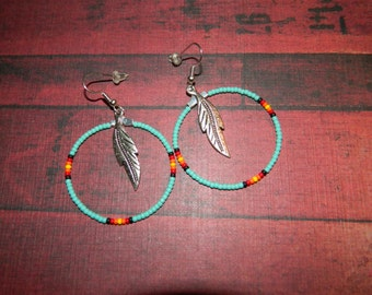 "Native American 1-1/2"" Beaded Hoops with Large Silver Feather"