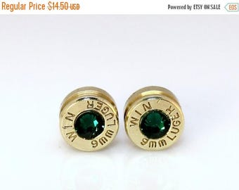 30% OFF SALE Bullet Earrings. May Birthstone. Emerald . 9mm Luger.