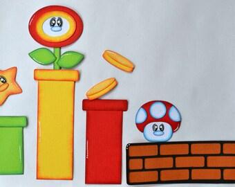 CraftECafe Paper Piecing Mario Accents Nintendo Premade Scrapbook Layout page