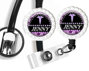 Personalized Stethoscope ID Tag/Clip & Retractable Badge Reel Combo with Colored Bottle Caps Nurses Health Care Home Care Nurses EMT