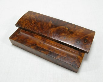Burr Walnut Desk Tidy, Burl Walnut Desk Tidy, French Desk Tidy, Wooden Desk Tidy, Pen Box, Pencil Box, French Box, Vinage Desk Box (250)