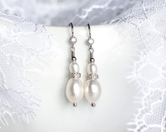 731_Natural white wedding earrings CZ, Romantic dangle earrings, Natural pearl earrings ivory, Silver bridal earrings Cubic zirconia jewelry