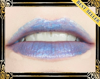 HECATE Lip Gloss: 10 mL Tube, Blue Violet Glitter Lip Glaze, Purple Iridescent Lip Color, Vanilla Flavor, Ships Out in 4-7 Days