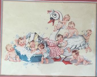 Vintage Wood Framed Print of Babies Bathing