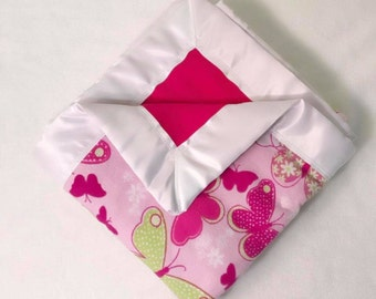 Butterfly Double  Sided Flannel Blanket w/ Satin Binding