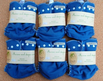 6pc merino wool diaper cover only 111USD soakers / pack / set / for cloth diaper / nappy wrap / night time / blue / XL