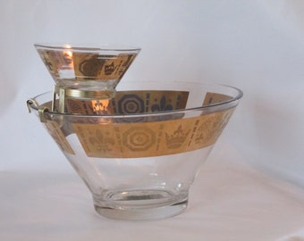 Vintage Chip and Dip Bowls. Vito Bari 1960s. 22kt Gold.