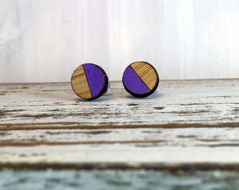 Purple Round Bamboo Earrings // Geometric // Hypoallergenic  // Wood Jewelry //