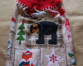 Christmas Hanging Dish Towel, Hanging Kitchen Towel, Crochet Top Towel, Housewarming Gift, Home Decor