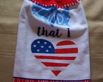 Hanging Dish Towel, Hanging Kitchen Towel,Football Hanging Towel, Crochet Top Towel, Housewarming Gift, Home Decor