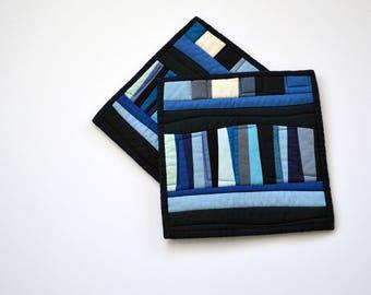 Blue Potholders, Pot Holders,  Modern, Hostess Gift (set of 2), Blue, Abstract