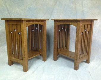 Mission Arts & Crafts Quartersawn Oak End Stand With Side Slat Cutouts Free Shipping