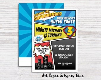 Superhero Invitations/ Birthday Invitations/ Superhero Party Invitations/ Superhero Invites/ Superhero Baby Shower Invitations/ Comic Invite