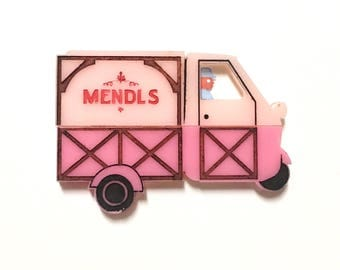 Grand Budapest Hotel Mendl's pastry pink delivery truck brooch