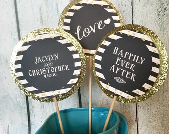HAPPILY EVER AFTER Wedding Shower Brunch Bridal Couples Shower Bachelorette Themed Centerpiece Sticks {Set of 3} - Black White Gold