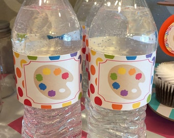 CHEVRON ART PARTY Happy Birthday Water Bottle Labels Set of 12 {One Dozen} - Party Packs Available