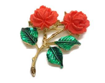 Coral rose brooch, enamel coral roses, enamel, gold tone stem with green enamel leaves, orange pin 1960's