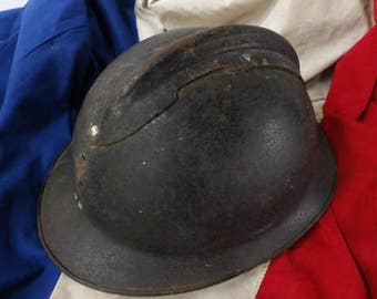 Antique French Army Helmet...1940s Military Memorabilia....Man Cave....Man Gift.