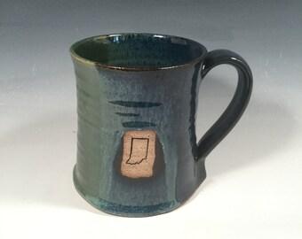 Indiana Beer Stein - handmade ceramic mug- 24 oz - Monet Blue Green- Indiana stamp image - Ready to ship - ceramics - pottery - stoneware