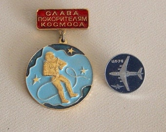 Vintage Russian SPACE AVIATION Pins Badges - Cosmonauts Mid Century Jewelry