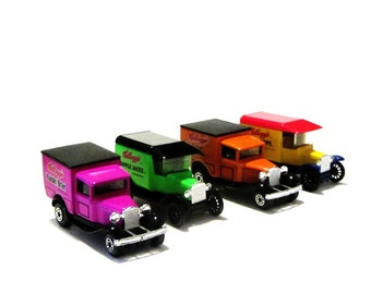 Vintage Matchbox Die Cast Trucks Kelloggs Model A and T Fords Bright Colors Raisin Bran Mini Wheats Apple Jacks Corn Pops Collectible Toys