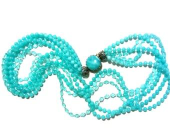 Aqua Multi Strand Plastic Bead Necklace Fused Lucite Diamond and Round Beads Retro Party Mardi Gras