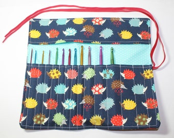 Crochet starter set, crochet hook holder, crochet hook roll, with hedgehogs