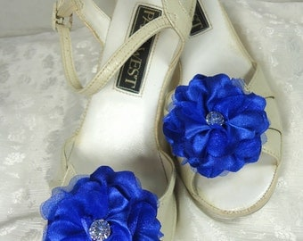 Shoe Embellishments, Charmeuse Shoe Clips, Royal Blue Shoe Clips, Flower Shoe Clips, REX16-406