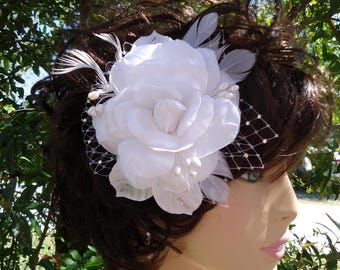 Bridal Fascinator, White Gardenia, Charmeuse Gardenia, Wedding Gardenia, REX17417