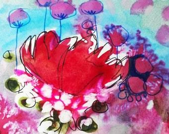 Pink Blush print, size 13cm x 13cm