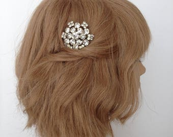 Bridal Hair Comb,  beautiful rhinestone domed bloom ,wedding hair, bridal comb, wedding hair accessory, vintage rhinestone comb