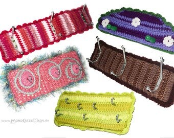 crocheted Hooks, rack, key board,