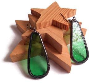 Drop Earrings Dangle Earrings Green Glass Earrings Stained Glass Earrings Glass Metal Jewelry Handmade Earrings Blue Jewelry Glass Jewelry