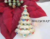 Hollycraft Christmas Brooch - Rhinestone Christmas Tree - Multicolor Stones - Holiday Pin