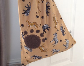 Handmade Fully Lined Safari Print Drawstring Bag with Paw print  Appliqué