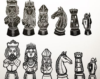 Chess set - Rubber stamps on paper - Kathleen Neeley