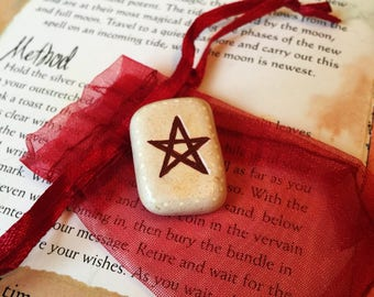 PENTAGRAM Pocket Charm.  Self Protection Sea Pottery Talisman & Pouch. Pagan Amulet Witches Pentacle Altar Stone