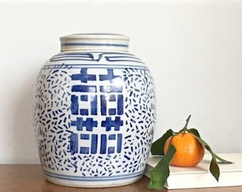 Vintage Chinese Ginger Jar Blue White Porcelain Double Happiness Chinoiserie Chic Asian Chinese Preppy Decor