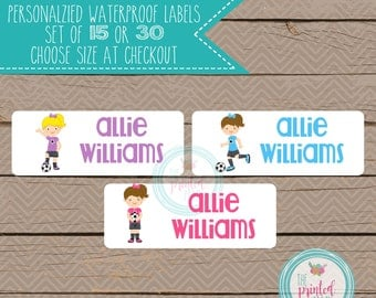 Personalized Waterproof Label Stickers - soccer girl - Perfect for Bottles, Sippy Cups, Daycare, School - 108