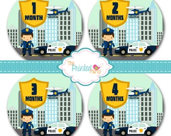 Monthly Baby Stickers - Baby Shower Gift and Photo Prop - police - pd - 310