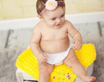 Mini Blanket, Security Blanket, Small Crochet, Baby Afghan, Carry Blankie, Yellow Blanket, Basket Filler, Newborn Baby, Baby Boy, Baby Girl