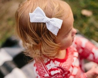 The Lolly Hand-Tied Bow - Silver Polka - Available on one size fits all nylon elastic or a clip