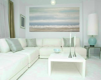 Art, Large Painting, Original Abstract, Acrylic Paintings on Canvas by Ora Birenbaum Titled: Soft Clouds 9 24x48x1.5""