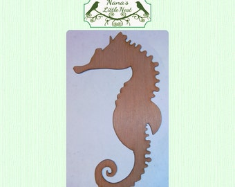 Cute Solid Seahorse ( Small) Wood Cut Out - Laser Cut