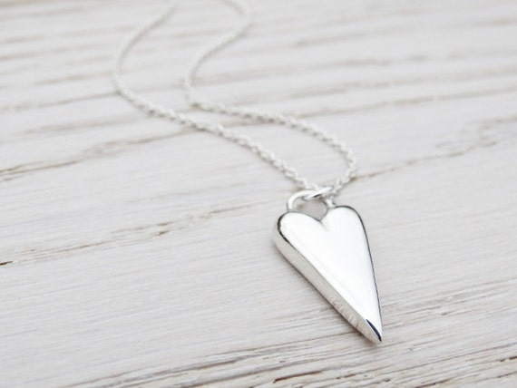 Solid Silver Heart Necklace - Sterling Silver
