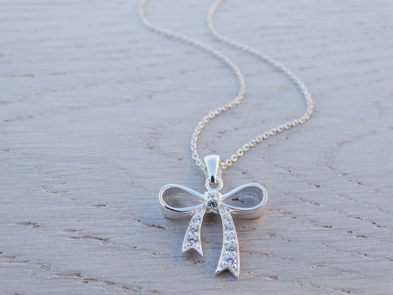 Silver Bow Necklace With Cubic Zirconia - Sterling Silver